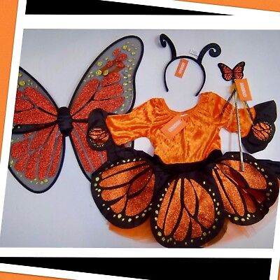 Orange Butterfly Wand (NWT XS(4) Gymboree COSTUME 4pc Monarch  BUTTERFLY FAIRY Wings Antenna Wand DRESS )