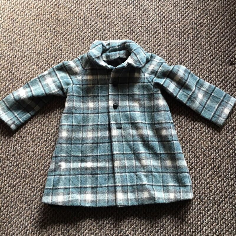 Vintage Childs Plaid Wool Coat Aqua Black Toddler Very Sweet!