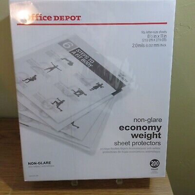 Office Depot Non-glare Economy Weight 8.5 X 11 Sheet Protectors 200 Count