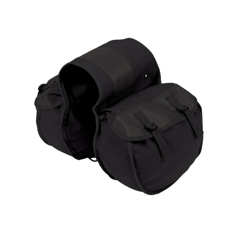 STANSPORT SADDLE BAG COTTON DUCK CANVAS VINYL BACKING BLACK CAMPING OUTDOOR NEW