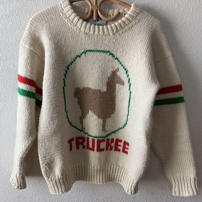 Vintage Cowichan Sweater 70s 80s Hand Knit Wool Pattern Llama Truckee CA Small