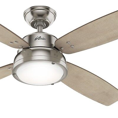 Hunter Fan 52 in Casual Brushed Nickel Ceiling Fan w/ Light Kit & Remote Control