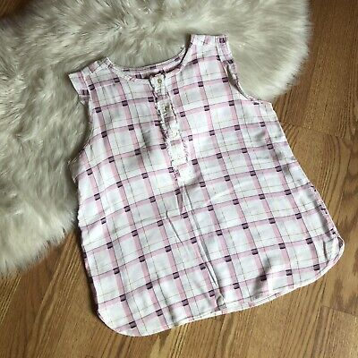 Pink White And Gold (Loft Sleeveless Pink White Gold Plaid Button Down Size Large)