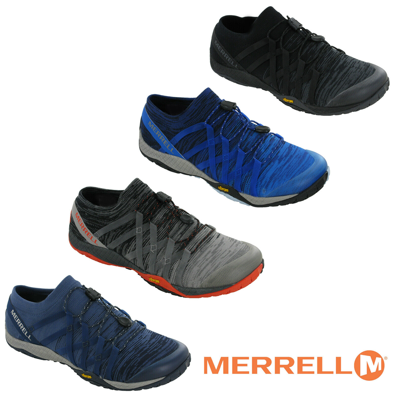 5cc0ddfb7b Details about Merrell Trail Glove 4 Knit Barefoot Mesh Trainers Mens Trails Vibram  Shoes