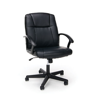 Black Executive Office Rolling Chair Desk Bonded Leather Comfortable Durability