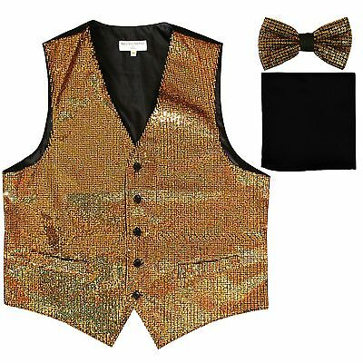 Black And Gold Tuxedo (New Men's Sequin GOLD Tuxedo VEST Waistcoat & BOW TIE and SOLID BLACK HANKIE)