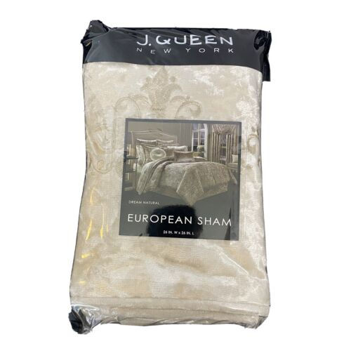 J. Queen New York Dream Natural Euro Pillow Sham European 26×26 NIP Cream Bedding