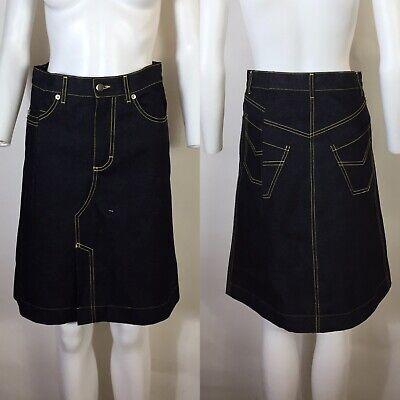 Rare Vtg Hussein Chalayan Blue Distorted Stitching Denim Skirt XS