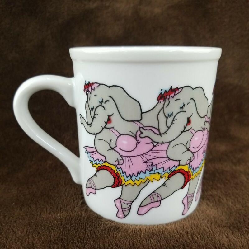 Papel Coffee Cup Mug CHORUS LINE Ballerina Elephants Dancing Vintage Japan