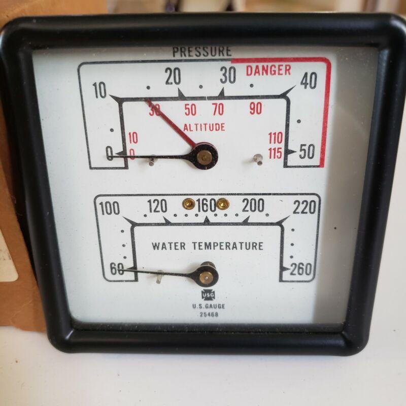Vintage Ametek U.S. Gauge Model 25468 Hot Water Boiler Temperature Pressure NOS