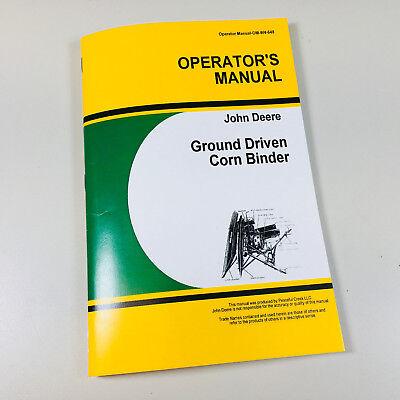 Operators Manual For John Deere Ground Driven Corn Binder