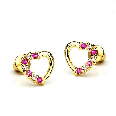 14k Gold Plated Red Open Heart Children Screw Back Baby Girls Earrings
