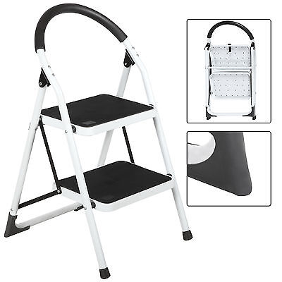 New 2 Step Lightweight Folding Stool Heavy Duty 330lbs Capacity Ladder Home Use