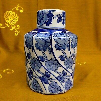 XL Deckelvase Teedose Ingwertopf Porzellan China Blau Handmalerei Höhe: 20,5 cm