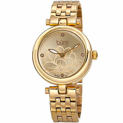 Women's Bugi BUR223YG Diamond Flower Engraved Gold Tone Stainless Steel Watch