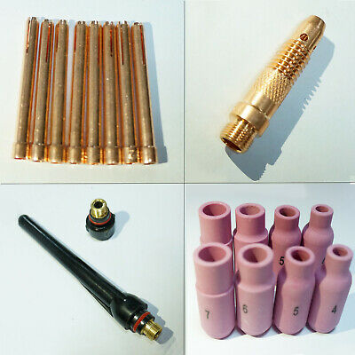 19pc Tig Welding Torch Body Parts Gas Lens Nozzle Collect Cup Kit For Wp-1726