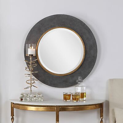 Large Round Wood Beveled Wall Mirror Contemporary Charcoal C