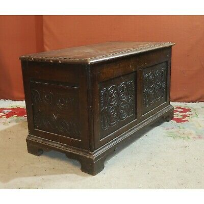 19th Century Small Oak Coffer  - Collection only Weymouth
