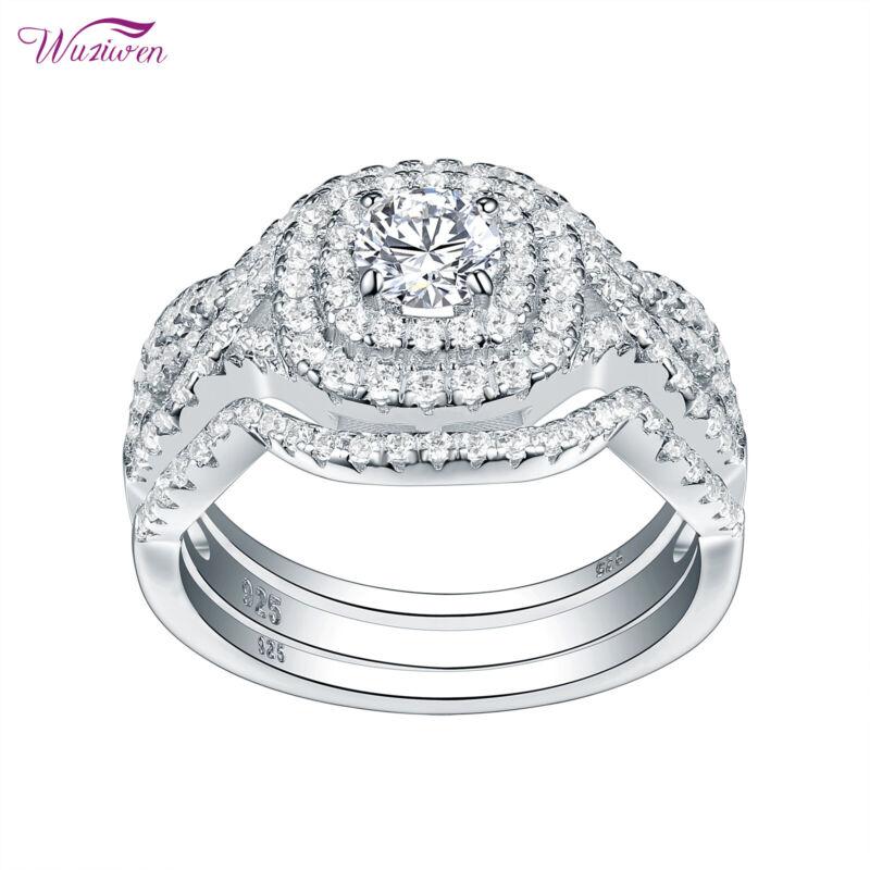 Wuziwen 3pcs Wedding Engagement Ring Sets 2ct Round Aaaa Cz 925 Sterling Silver
