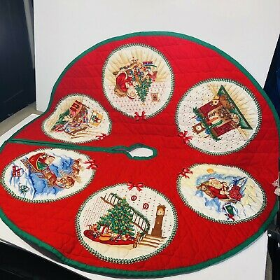 Christmas Tree Skirt Red, Green & White handmade