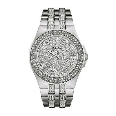 - Bulova Men's Crystal Accents Pave Dial Silver-Tone Bracelet 42mm Watch 96B235