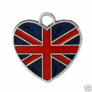 4 Enamel Union Jack Pendant Charms Heart