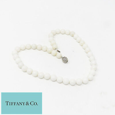 NYJEWEL Tiffany & Co 925 Sterling Silver White Beads Necklace 18.5 Inches