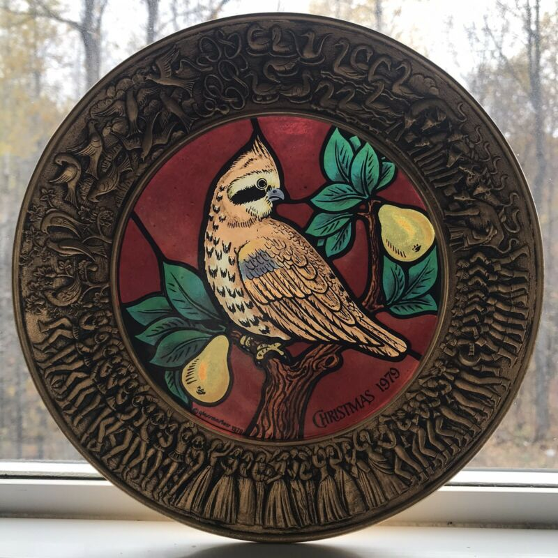 Chilmark Pewter Stained Glass Christmas Plate Partridge in a Pear Tree 1979