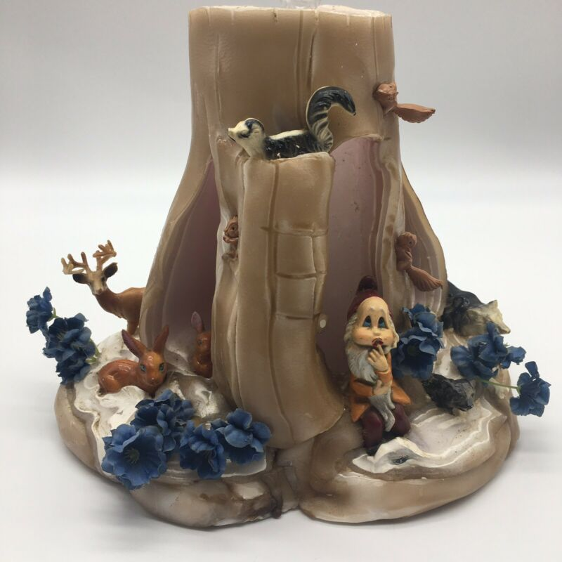 Vintage Wax Sculpted Candle Tree Stump Gnome Forest Animals Lamp Lite