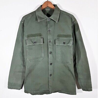 1940s Men's Shirts, Sweaters, Vests S Men's 1940s WWII US Army HBT 13 Star Fatigue Shirt 40s Vtg WW2 Field Jacket 36 $96.06 AT vintagedancer.com