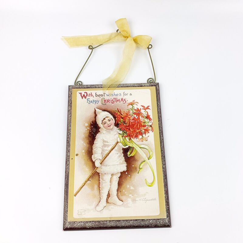 Vtg Style Wood CHRISTMAS Plaque Sign Snow Baby Glitter Postcard Style Retro