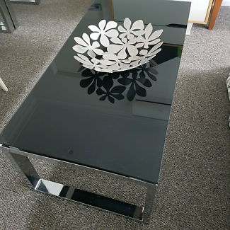 High quality black glass & stainless steel coffee table