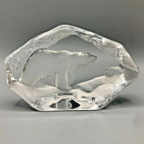 Mats Jonasson Sweden Crystal Signed Polar Bear Signed Wildlife Collection