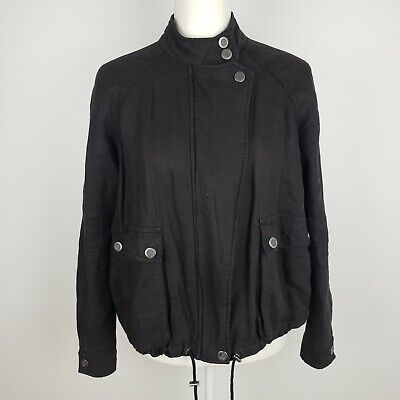 Free People Size XS Black Jacket Bomber Linen Moto Coat Solid Womens 017