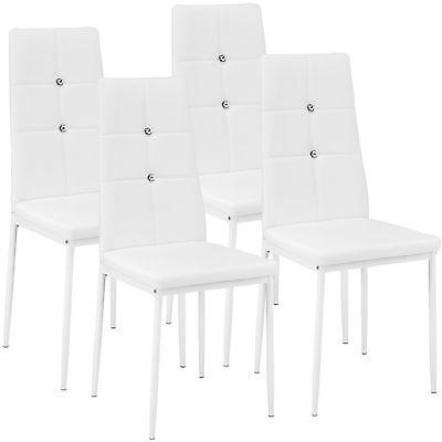 Kit de 4 sillas de comedor Juego elegantes sillas de diseño modernas cocina blan