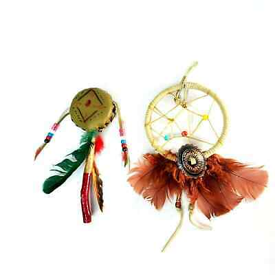 Native American Dreamcatcher & Rattle Vintage Handmade Small Collectibles