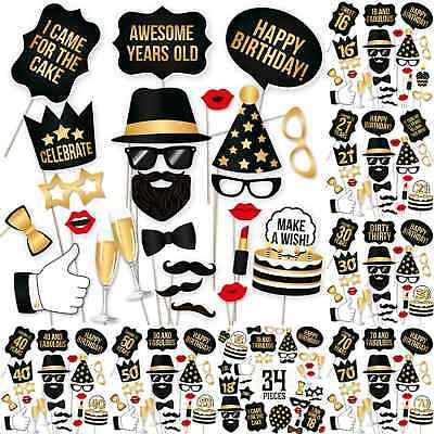 Birthday Party Celebration DIY Photo Booth Props Stand Mask On A Stick Mustache - Photo Booth Sticks