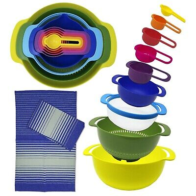 Measuring Prep Bowls - Nesting Mixing Bowls & Measuring Cups Set for Cooking, Baking, Meal Prep