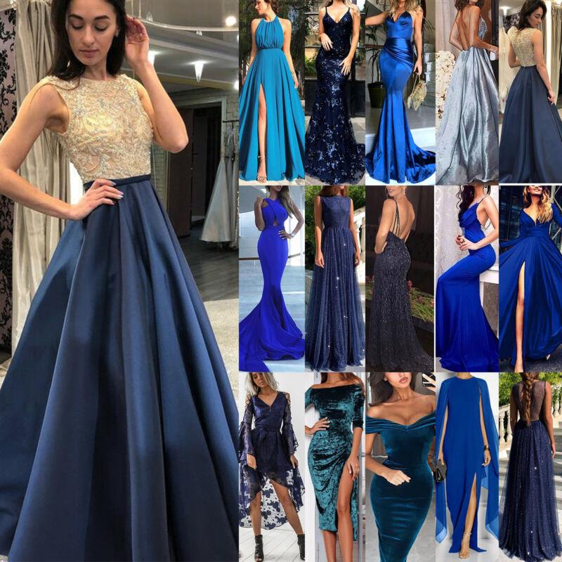 Damen Hochzeit Lang Maxikleid Partykleid Cocktailkleid Abendkleid Ballkleid Blau