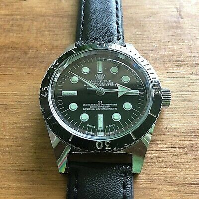 Marine Time Super De Luxe Swiss Mens Diver Watch - Great Vintage Condition