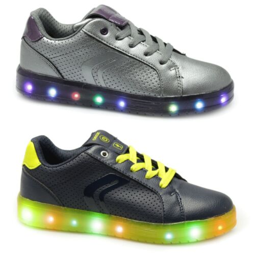 GEOX JR KOMMODOR Junior Kids USB Rechargeable Fun LED Light Up Party Trainers