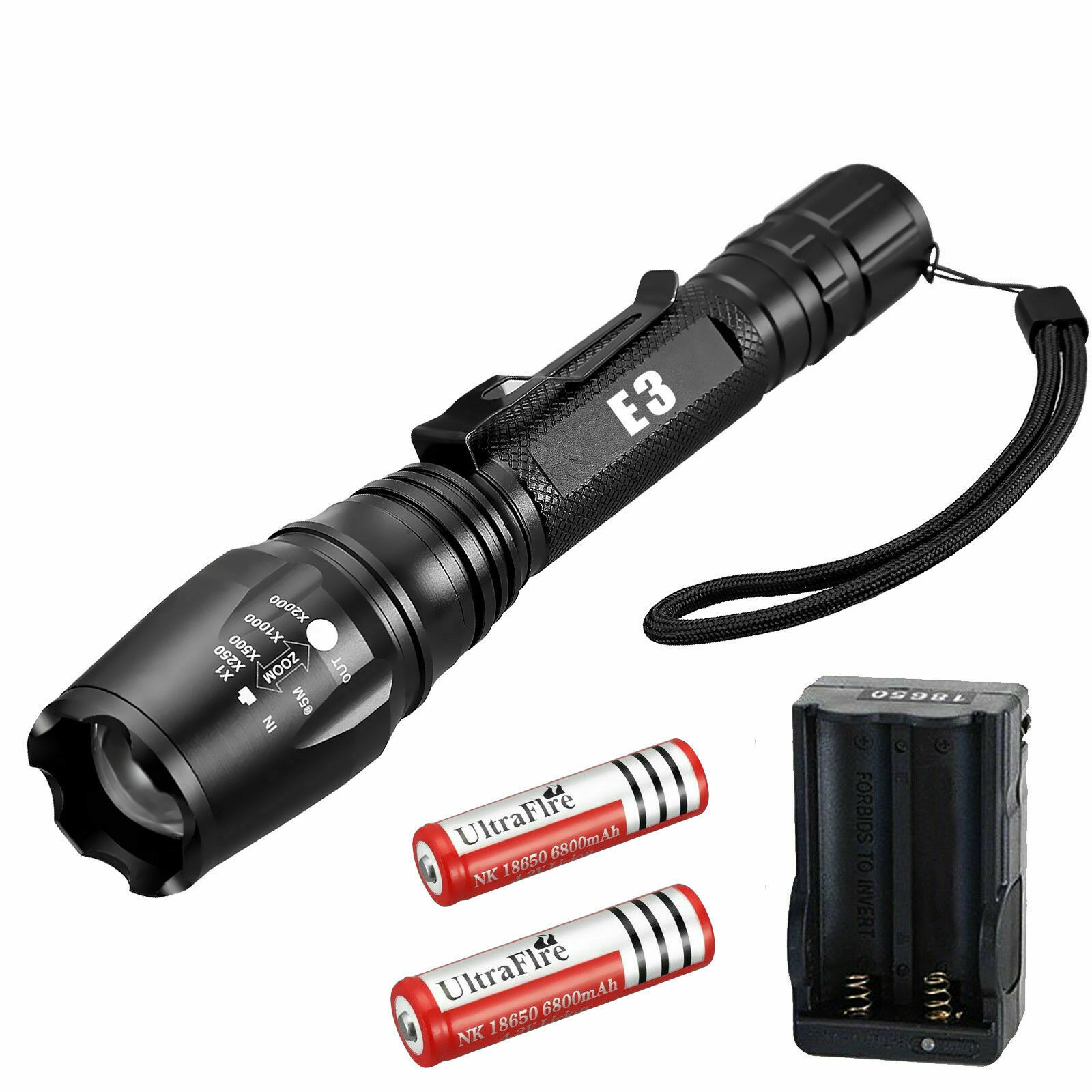 Tactical Police 990000Lumens 5 Modes 18650 T6 LED Flashlight Aluminum Zoom Torch Camping & Hiking
