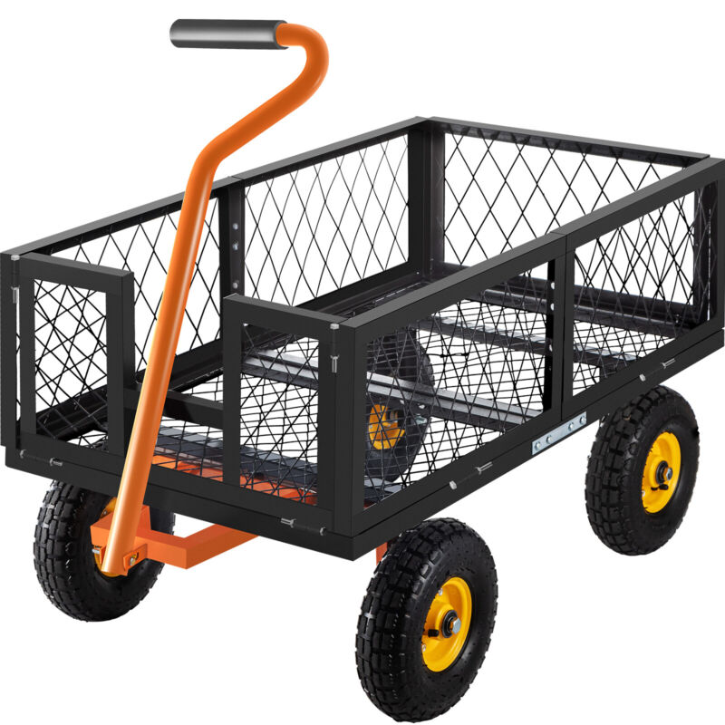 VEVOR 1200 LBS Heavy Duty Steel Yard Cart Garden Lawn Utility Wagon Removable