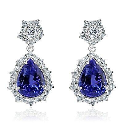 11.49 Ct GIA Violet Pear Brilliant Tanzanite Diamond Teardrop Earrings 18k Gold