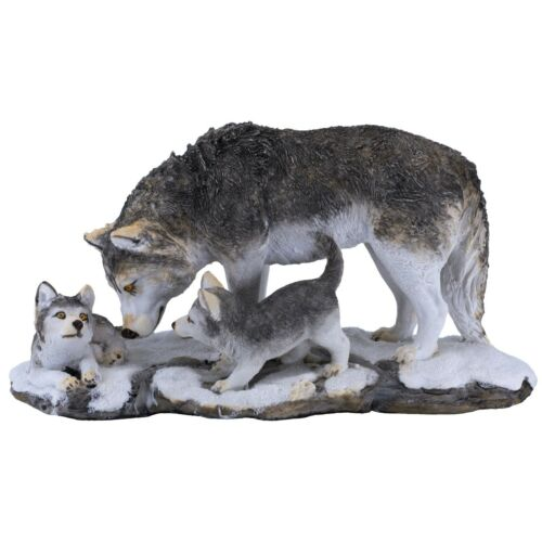 """Gray Wolf With Cubs Figurine 10"""" Long Resin Statue New"""