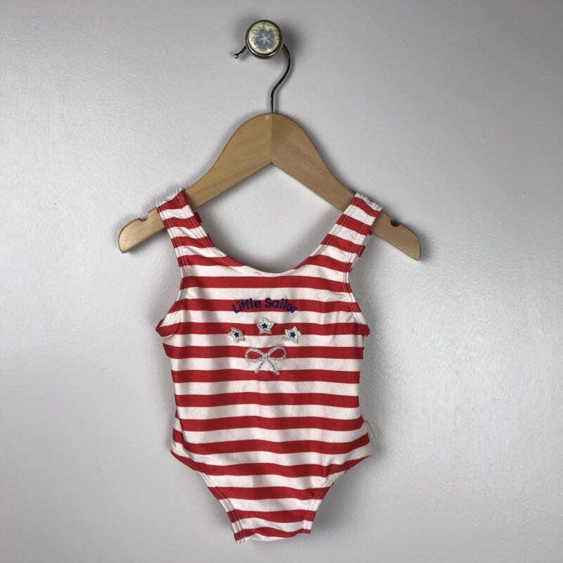 VINTAGE OSHKOSH Baby 12 Months Striped Nautical One Piece Swim Bathing Suit