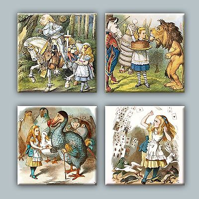 Set of 4 Ceramic tile magnet refrigerator Alice in Wonderland illustration