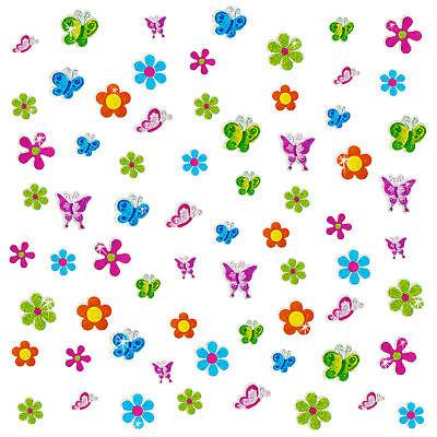 Blumen & Schmetterlinge bunt - Kinder Scrapbooking (Glitzer Blumen)