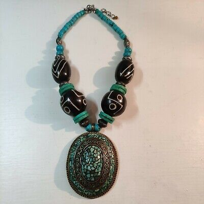 Vintage Big Oval Tibetan Copper Brass Turquoise Gemstone