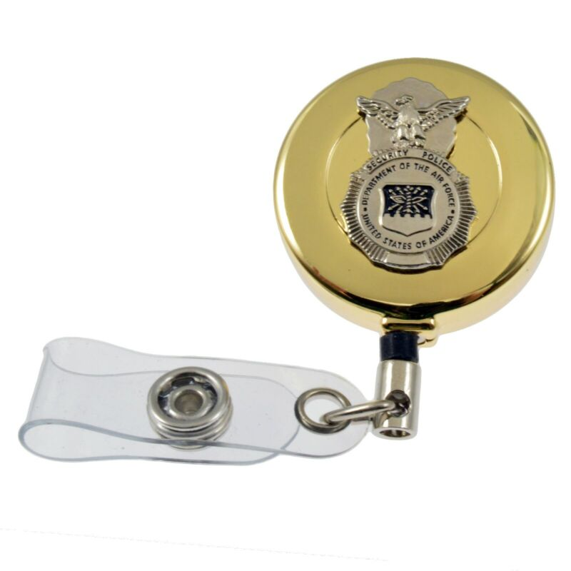 US Air Force USAF Military Security Police SP Badge Retractable ID Holder Reel